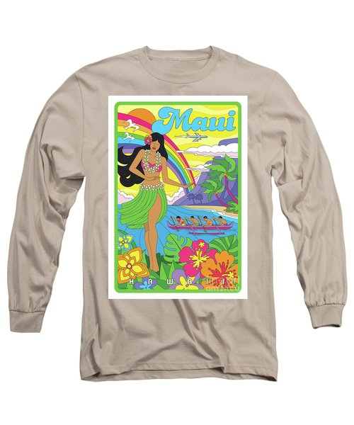 Maui Poster - Pop Art - Travel Long Sleeve T-Shirt