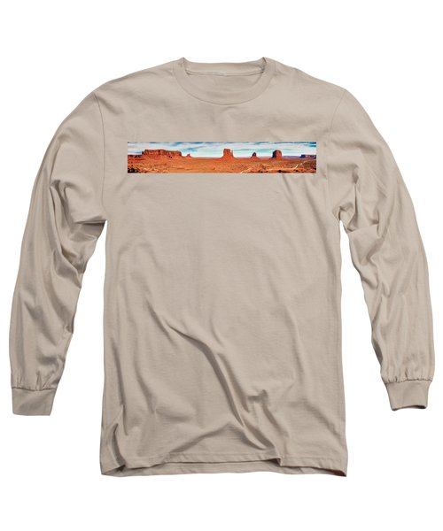 Long Sleeve T-Shirt featuring the photograph Monument Valley Panorama by Andy Crawford