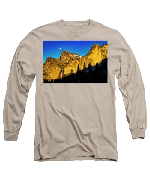Moonrise Over Bridalveil  Falls Long Sleeve T-Shirt