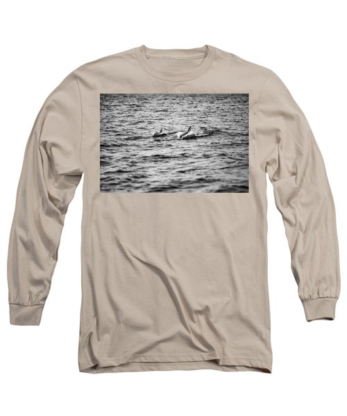 Mother Dolphin And Calf Swimming In Moreton Bay. Black And White Long Sleeve T-Shirt
