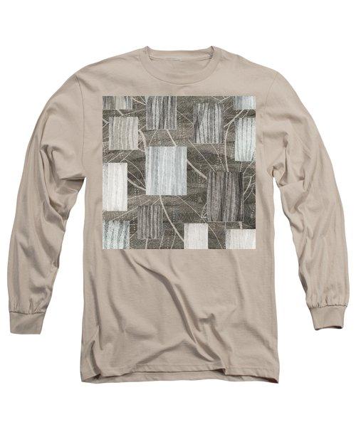 Neutral Leaf Print Squares Cream Long Sleeve T-Shirt