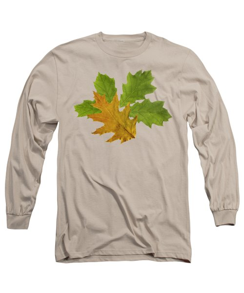 Long Sleeve T-Shirt featuring the mixed media Oak Leaves Patern by Christina Rollo