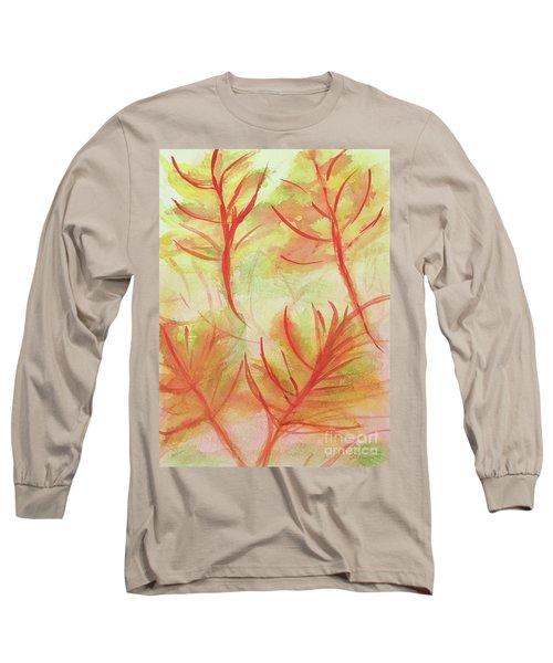 Orange Fanciful Leaves Long Sleeve T-Shirt
