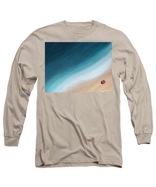 Pacific Ocean And Red Umbrella Long Sleeve T-Shirt