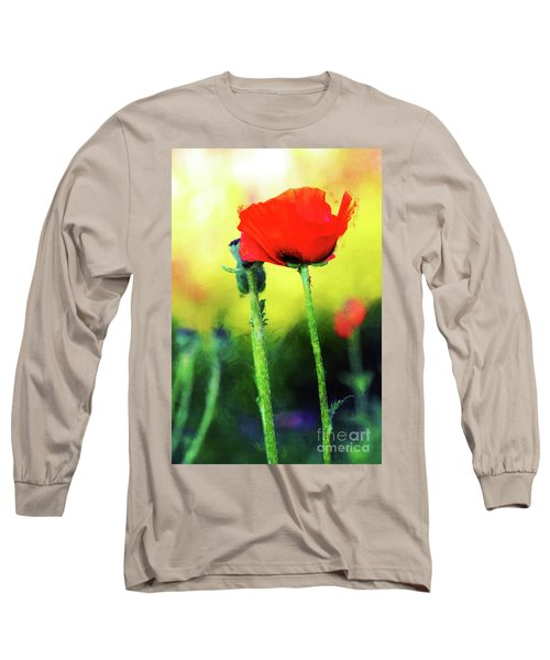 Painted Poppy Abstract Long Sleeve T-Shirt