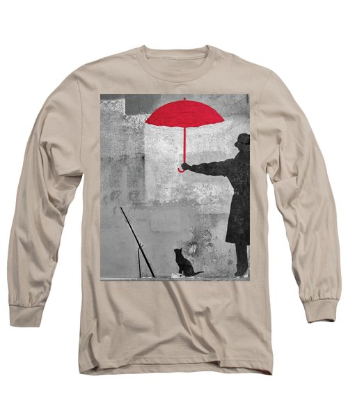 Paris Graffiti Man With Red Umbrella Long Sleeve T-Shirt