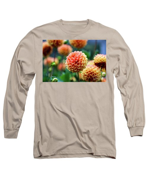 Peach Dahlias Long Sleeve T-Shirt