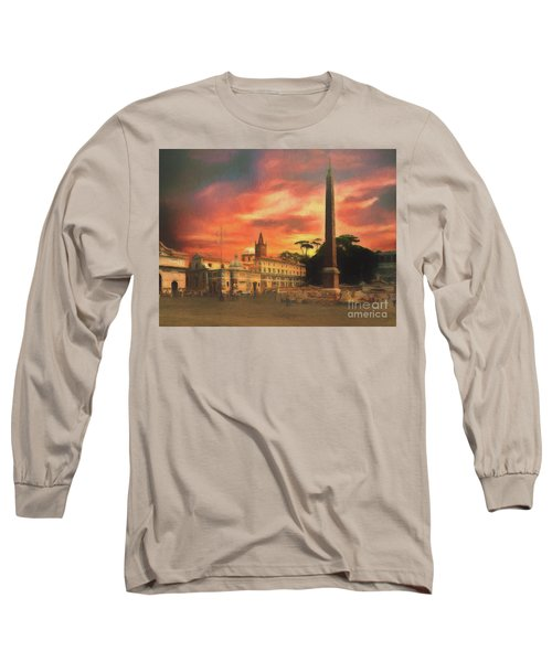 Long Sleeve T-Shirt featuring the photograph Piazza Del Popolo Rome by Leigh Kemp
