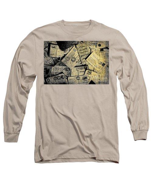 Piled Paper Postcards Long Sleeve T-Shirt