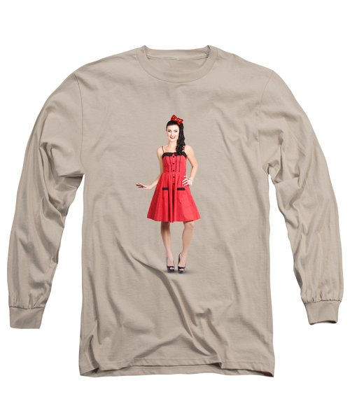 Pin-up Girl In Full Portrait With Beautiful Figure Long Sleeve T-Shirt