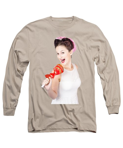 Pin-up Girl Singing Into Large Lollypop Microphone Long Sleeve T-Shirt