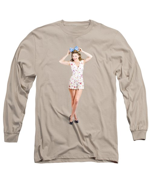 Pin-up Lady Playing With Hairstyle Accessory Long Sleeve T-Shirt