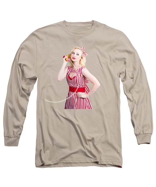 Pin Up Woman Ordering Organic Food On Banana Phone Long Sleeve T-Shirt