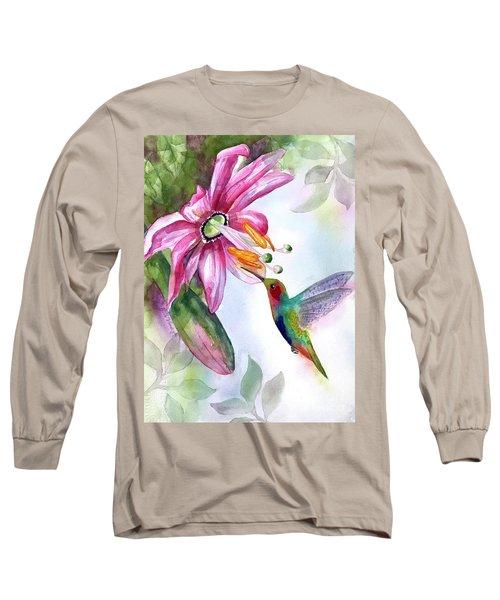 Pink Flower For Hummingbird Long Sleeve T-Shirt