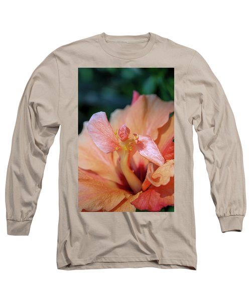 Pink Hibiscus Flower Long Sleeve T-Shirt