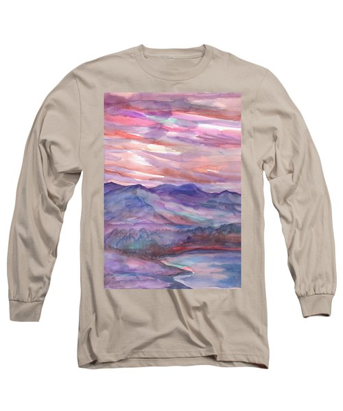 Pink Mountain Landscape Long Sleeve T-Shirt