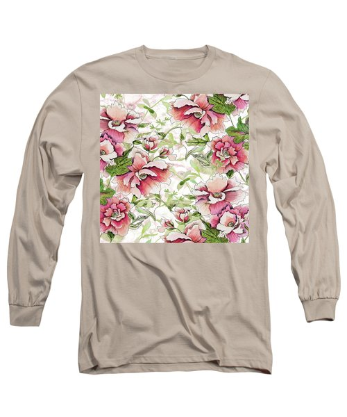 Pink Peony Blossoms Long Sleeve T-Shirt