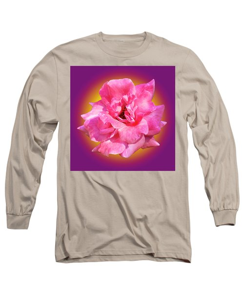 Pink Rose With Background Long Sleeve T-Shirt