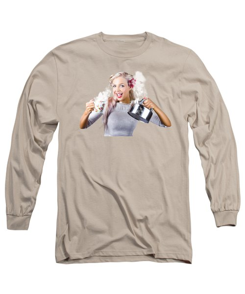 Pinup Girl Holding Kettle And Mug Long Sleeve T-Shirt