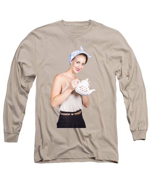 Pinup Girl Pouring Cafe Coffee Long Sleeve T-Shirt