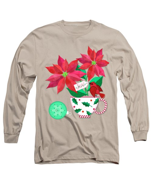 Poinsettia In Christmas Cup Long Sleeve T-Shirt