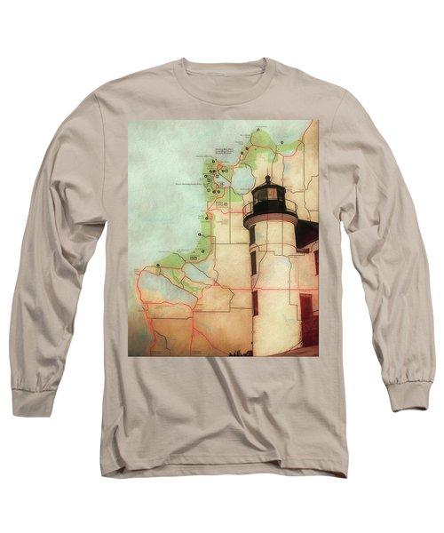 Point Betsie Lighthouse Map Long Sleeve T-Shirt