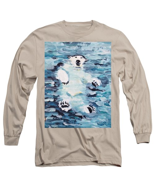 Long Sleeve T-Shirt featuring the painting Polar Bear by Maria Langgle