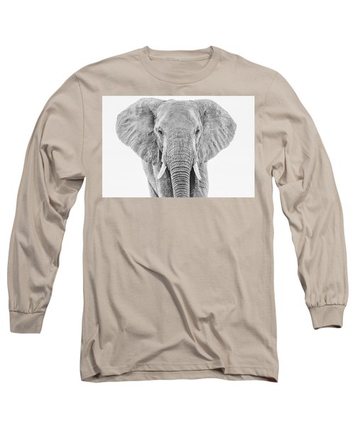Portrait Of An African Elephant Bull In Monochrome Long Sleeve T-Shirt