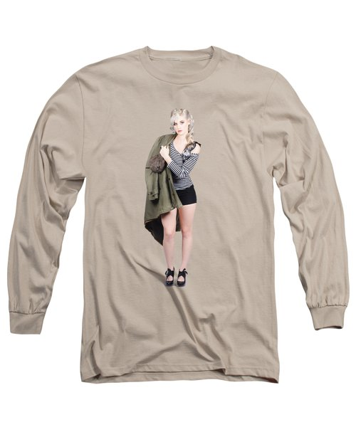 Pretty Pin-up Aviator Girl Isolated On Green Long Sleeve T-Shirt