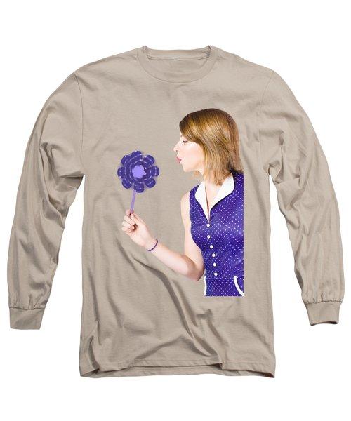 Pretty Pin Up Girl Playing With Purple Pinwheel Long Sleeve T-Shirt