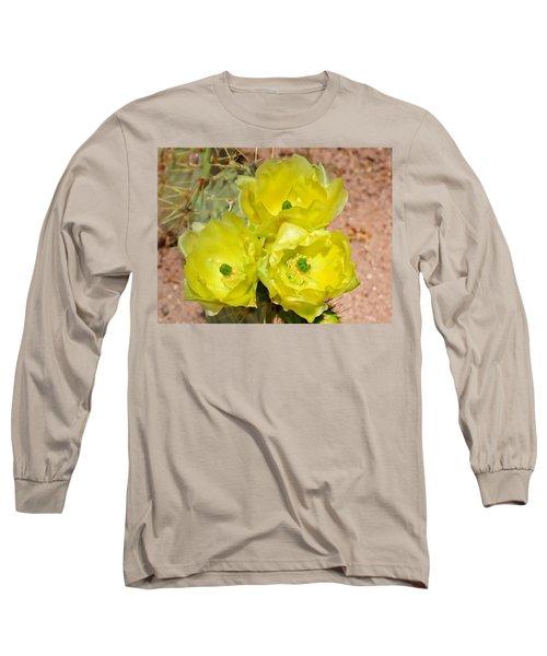 Prickly Pear Cactus Trio Bloom Long Sleeve T-Shirt