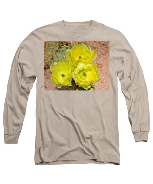 Prickly Pear Cactus Trio Bloom Long Sleeve T-Shirt