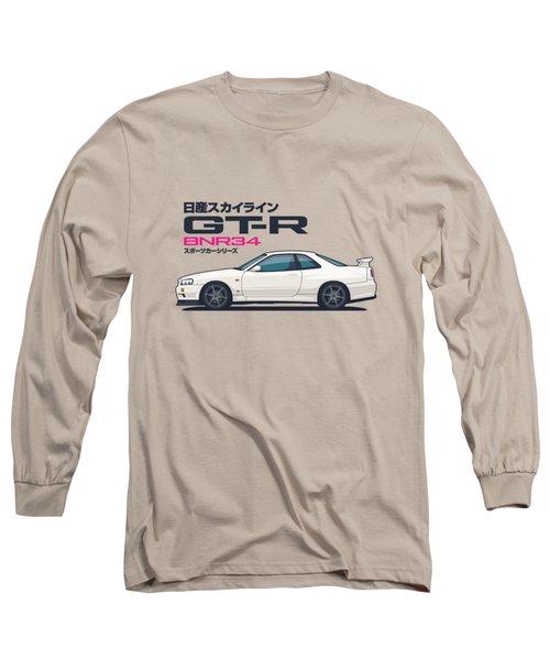 R34 Gt-r - Landscape White Long Sleeve T-Shirt
