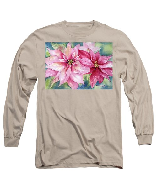 Red And Pink Poinsettias Long Sleeve T-Shirt
