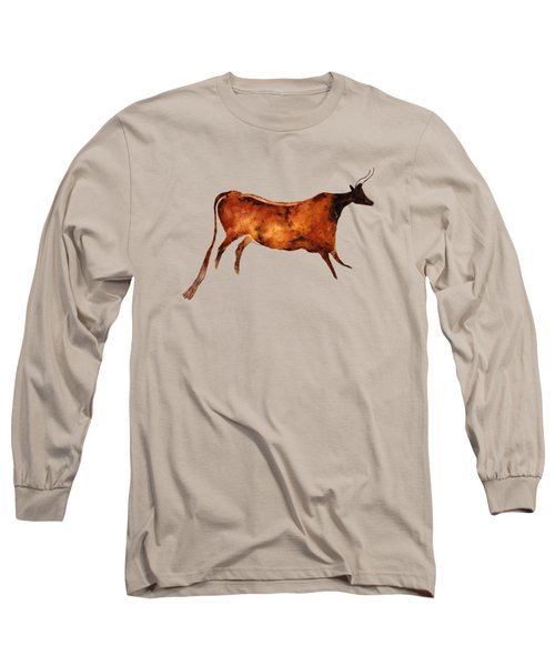 Red Cow In Beige Long Sleeve T-Shirt