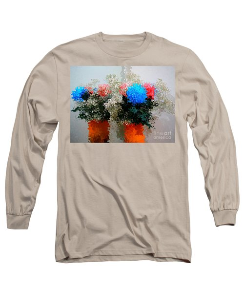 Reflection Of Flowers In The Mirror In Van Gogh Style Long Sleeve T-Shirt