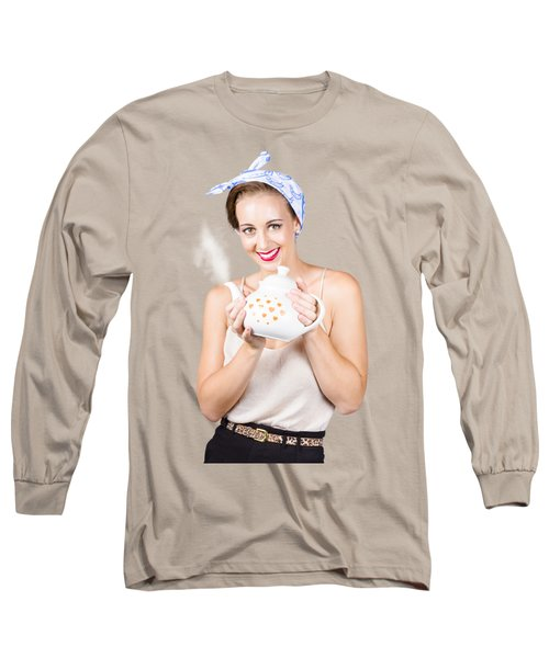 Retro Housewife With Teapot Long Sleeve T-Shirt