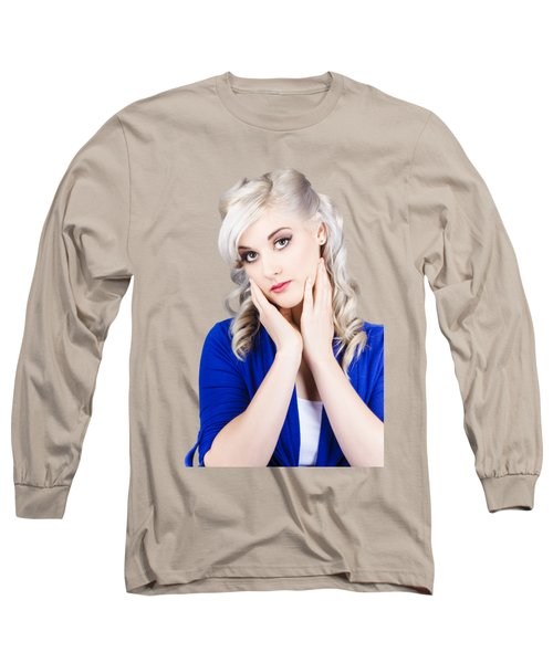 Retro Pin-up Woman With Beautiful Face Long Sleeve T-Shirt