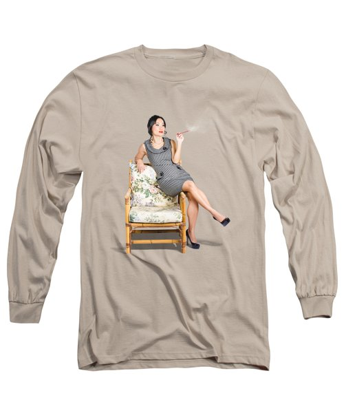 Retro Woman On Lounge Chair With Cigarette Holder Long Sleeve T-Shirt