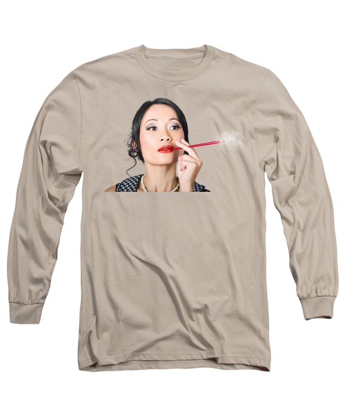 Retro Woman Smoking Cigar In Classic Style Long Sleeve T-Shirt