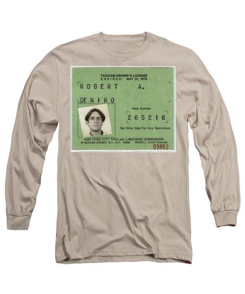 Robert De Niro's New York City Taxi Driver License 1976 Long Sleeve T-Shirt