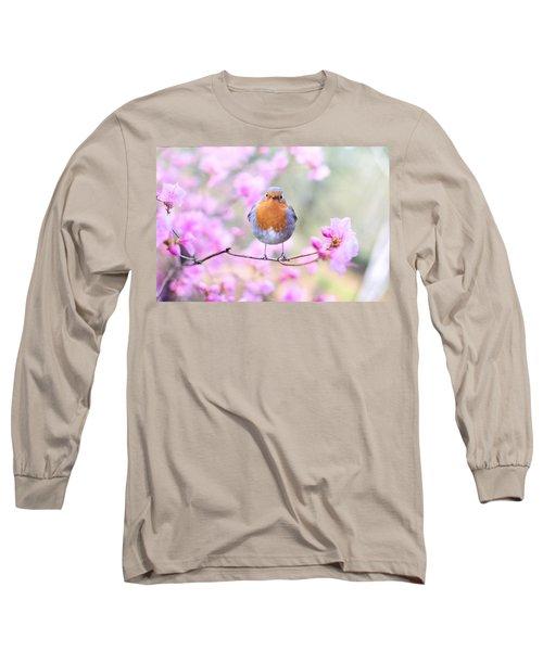Robin On Pink Flowers Long Sleeve T-Shirt