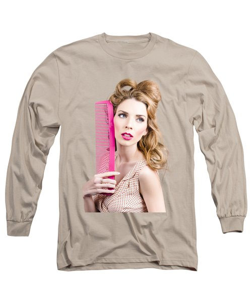 Salon Pin Up Woman With Elegant Hair Style Long Sleeve T-Shirt