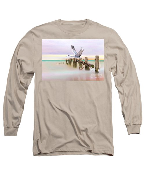 Sandhill Crane And Old Dock Long Sleeve T-Shirt