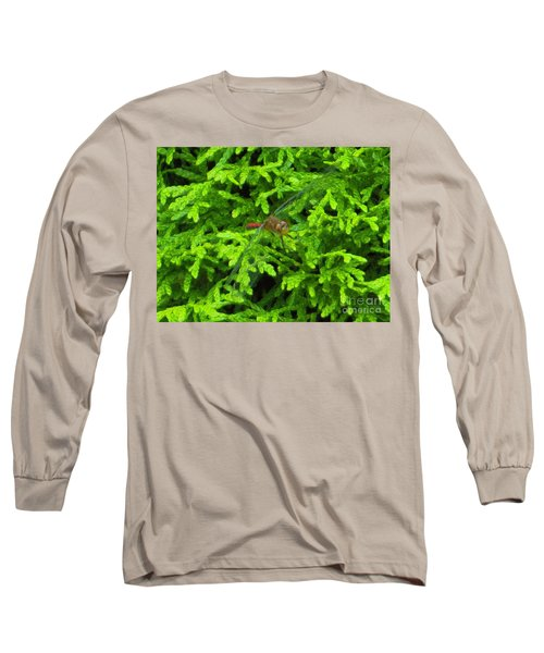 Long Sleeve T-Shirt featuring the photograph Scarlet Darter Male Dragonfly by Rockin Docks