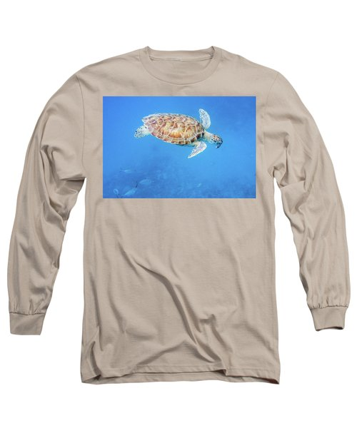 Sea Turtle And Fish Swimming Long Sleeve T-Shirt