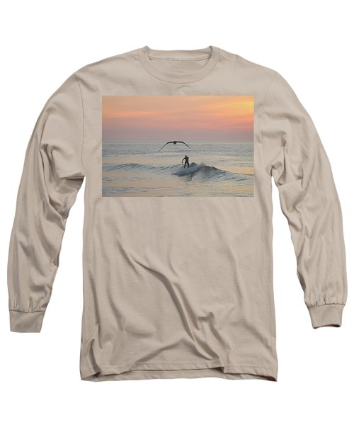 Seagull And A Surfer Long Sleeve T-Shirt
