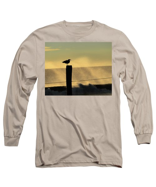 Seagull Silhouette On A Piling Long Sleeve T-Shirt