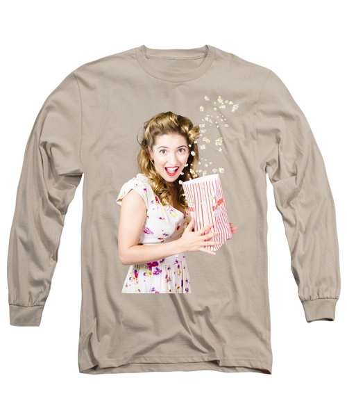 Shock Horror Pinup Girl Watching Scary Movie Long Sleeve T-Shirt