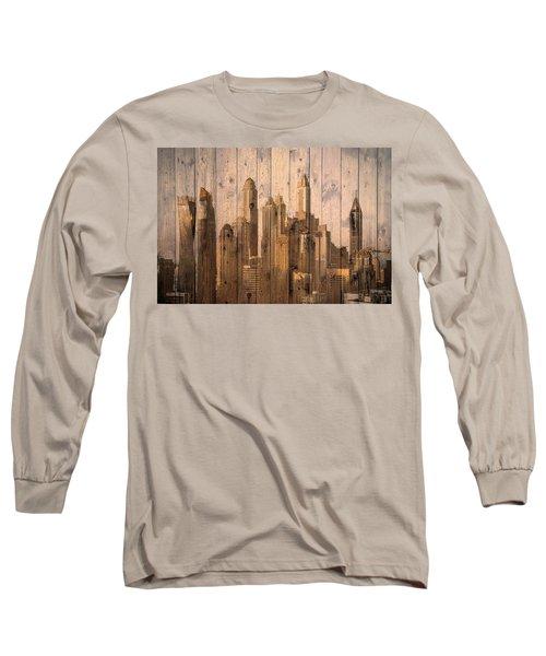 Skyline Of Dubai, Uae On Wood Long Sleeve T-Shirt